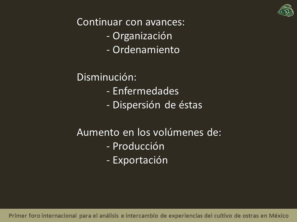 Primer foro internacional para el análisis e intercambio de experiencias del cultivo de ostras en México Continuar con avances: - Organización - Ordenamiento Disminución: - Enfermedades - Dispersión de éstas Aumento en los volúmenes de: - Producción - Exportación