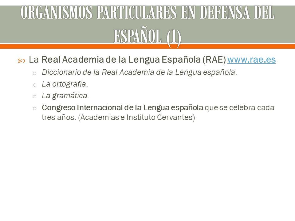 La Real Academia de la Lengua Española (RAE) www.rae.eswww.rae.es o Diccionario de la Real Academia de la Lengua española. o La ortografía. o La gramá