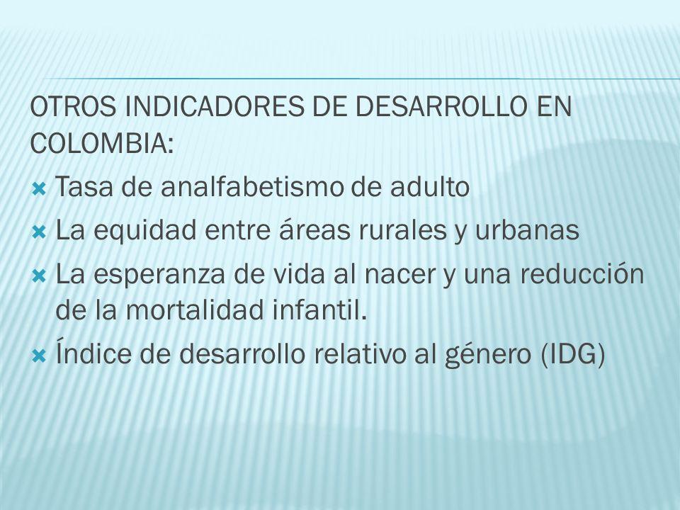 OTROS INDICADORES DE DESARROLLO EN COLOMBIA: Tasa de analfabetismo de adulto La equidad entre áreas rurales y urbanas La esperanza de vida al nacer y una reducción de la mortalidad infantil.
