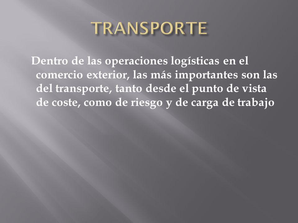 Dentro de las operaciones logísticas en el comercio exterior, las más importantes son las del transporte, tanto desde el punto de vista de coste, como