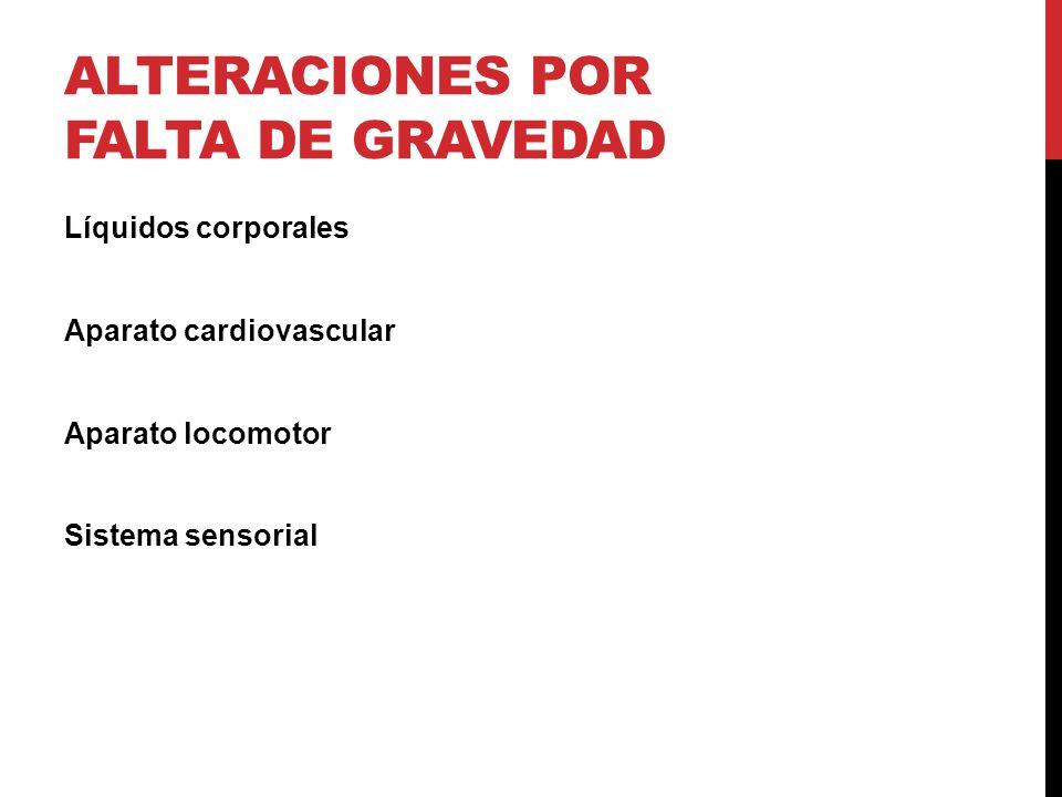 ALTERACIONES POR FALTA DE GRAVEDAD Líquidos corporales Aparato cardiovascular Aparato locomotor Sistema sensorial