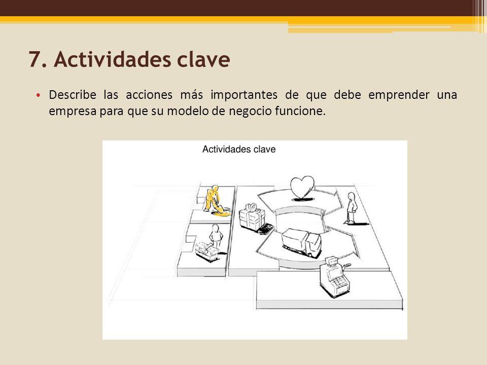 7. Actividades clave Describe las acciones más importantes de que debe emprender una empresa para que su modelo de negocio funcione.