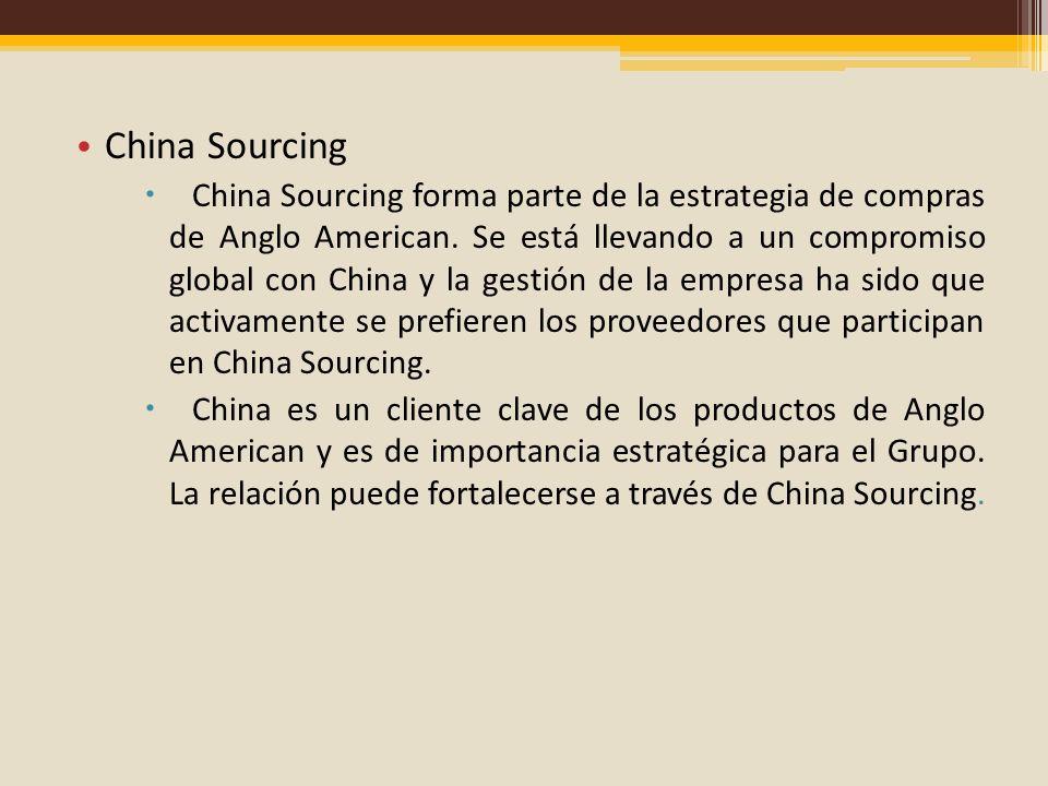 China Sourcing China Sourcing forma parte de la estrategia de compras de Anglo American. Se está llevando a un compromiso global con China y la gestió