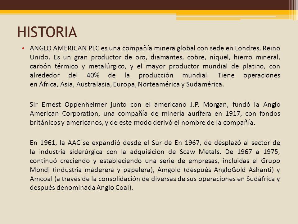 HISTORIA ANGLO AMERICAN PLC es una compañía minera global con sede en Londres, Reino Unido. Es un gran productor de oro, diamantes, cobre, níquel, hie