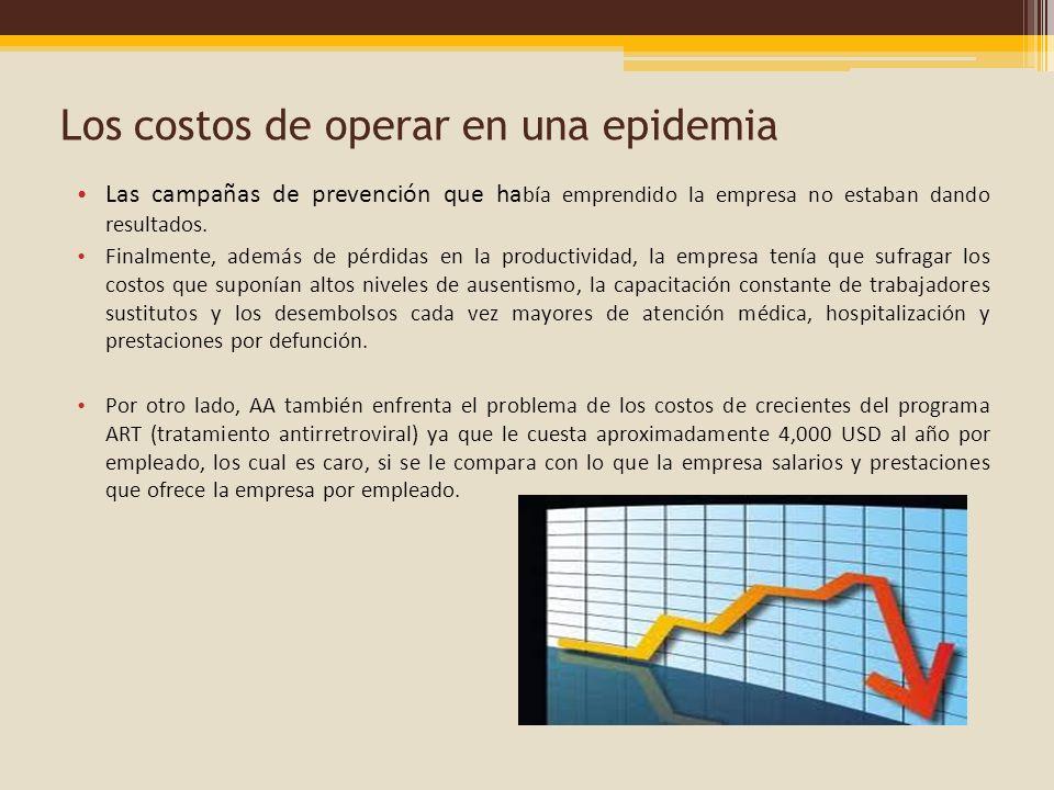 Los costos de operar en una epidemia Las campañas de prevención que ha bía emprendido la empresa no estaban dando resultados. Finalmente, además de pé