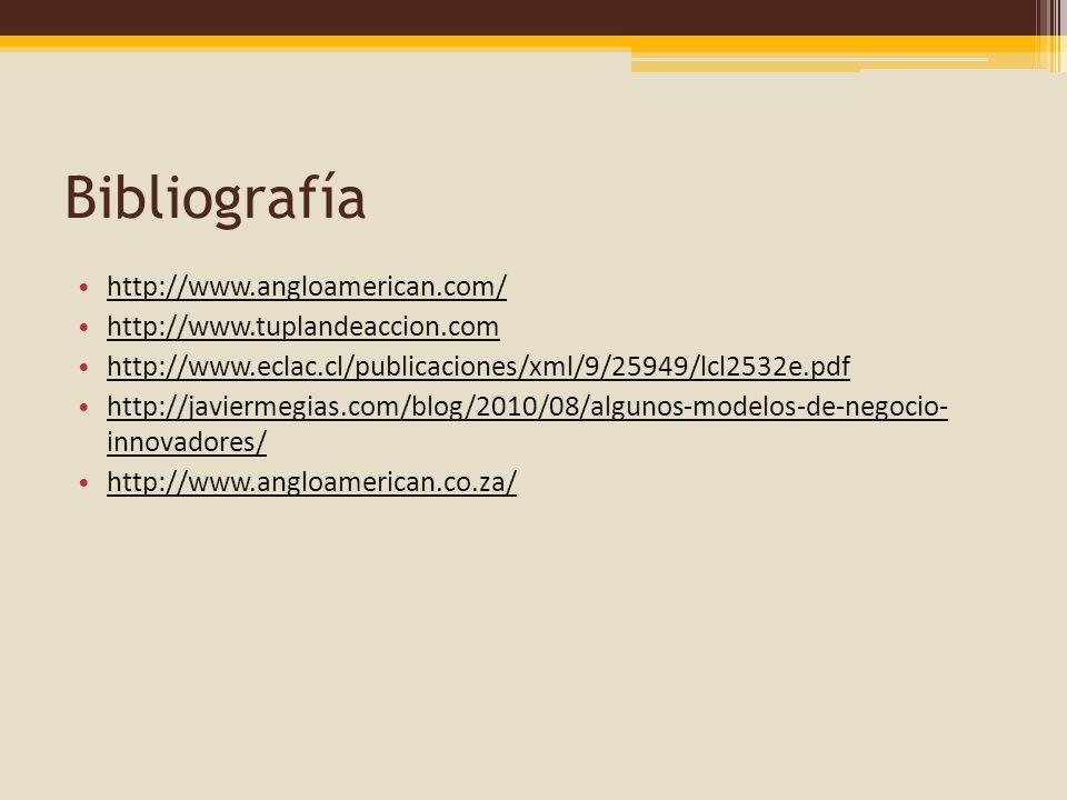 Bibliografía http://www.angloamerican.com/ http://www.tuplandeaccion.com http://www.eclac.cl/publicaciones/xml/9/25949/lcl2532e.pdf http://javiermegia