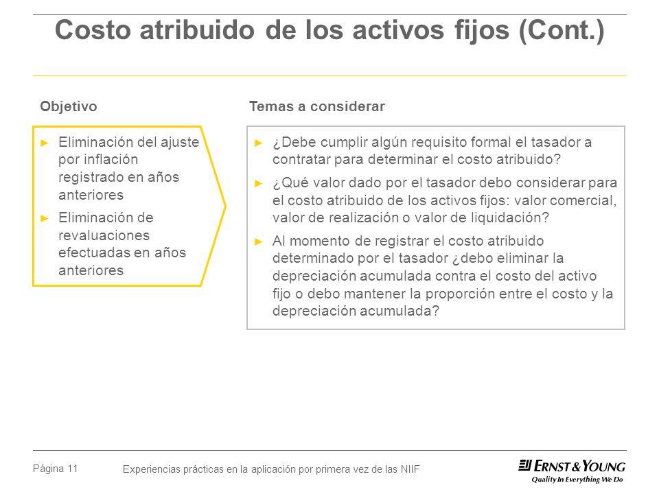 Experiencias prácticas en la aplicación por primera vez de las NIIF Página 11 Costo atribuido de los activos fijos (Cont.) ¿Debe cumplir algún requisito formal el tasador a contratar para determinar el costo atribuido.