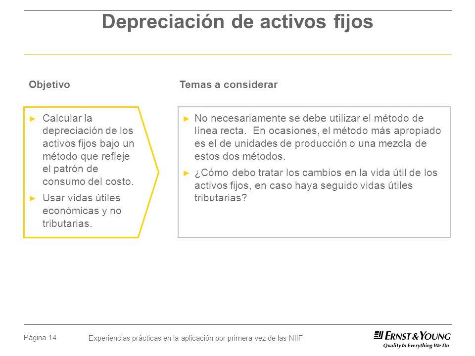 Experiencias prácticas en la aplicación por primera vez de las NIIF Página 14 Depreciación de activos fijos No necesariamente se debe utilizar el méto