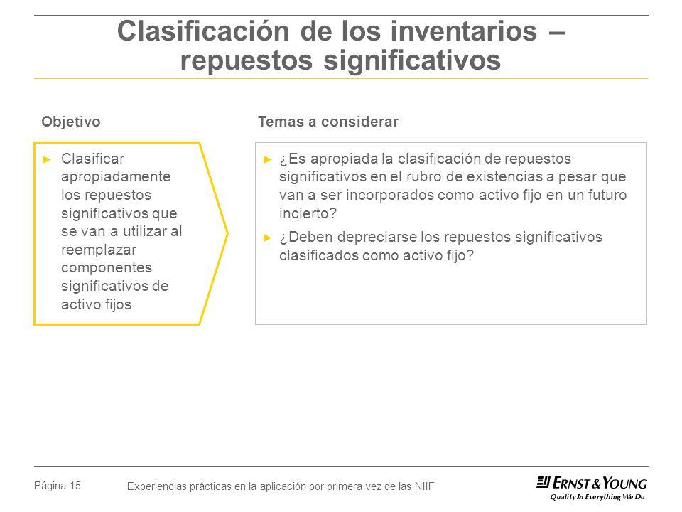 Experiencias prácticas en la aplicación por primera vez de las NIIF Página 15 Clasificación de los inventarios – repuestos significativos ¿Es apropiad