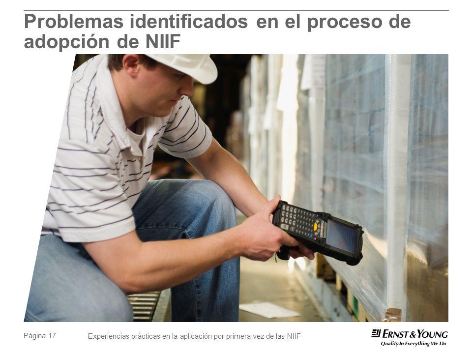 Experiencias prácticas en la aplicación por primera vez de las NIIF Página 17 Problemas identificados en el proceso de adopción de NIIF
