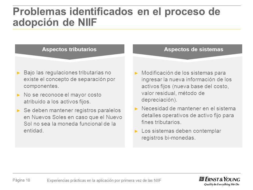Experiencias prácticas en la aplicación por primera vez de las NIIF Página 18 Problemas identificados en el proceso de adopción de NIIF Aspectos tributarios Aspectos de sistemas Bajo las regulaciones tributarias no existe el concepto de separación por componentes.