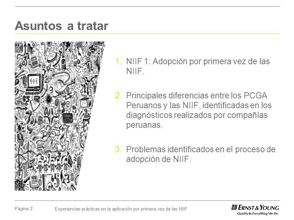 Experiencias prácticas en la aplicación por primera vez de las NIIF Página 2 Asuntos a tratar 1.NIIF 1: Adopción por primera vez de las NIIF. 2.Princi