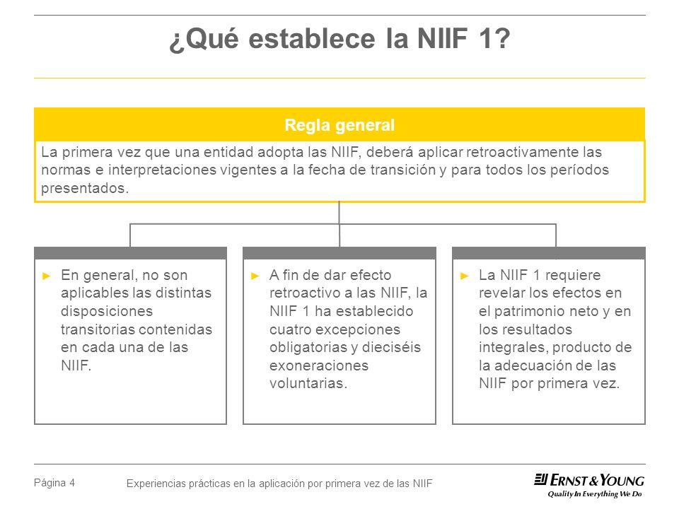 Experiencias prácticas en la aplicación por primera vez de las NIIF Página 4 ¿Qué establece la NIIF 1? En general, no son aplicables las distintas dis