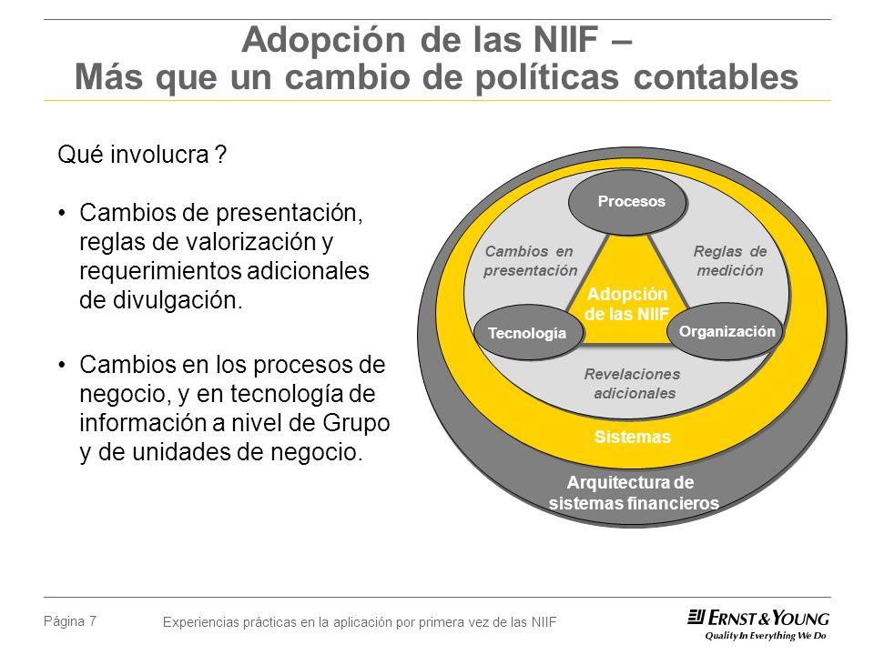 Experiencias prácticas en la aplicación por primera vez de las NIIF Página 7 Adopción de las NIIF – Más que un cambio de políticas contables Qué invol