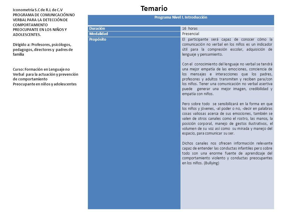 Programa Nivel I. Introducción Duración16 horas ModalidadPresencial PropósitoEl participante será capaz de conocer cómo la comunicación no verbal en l