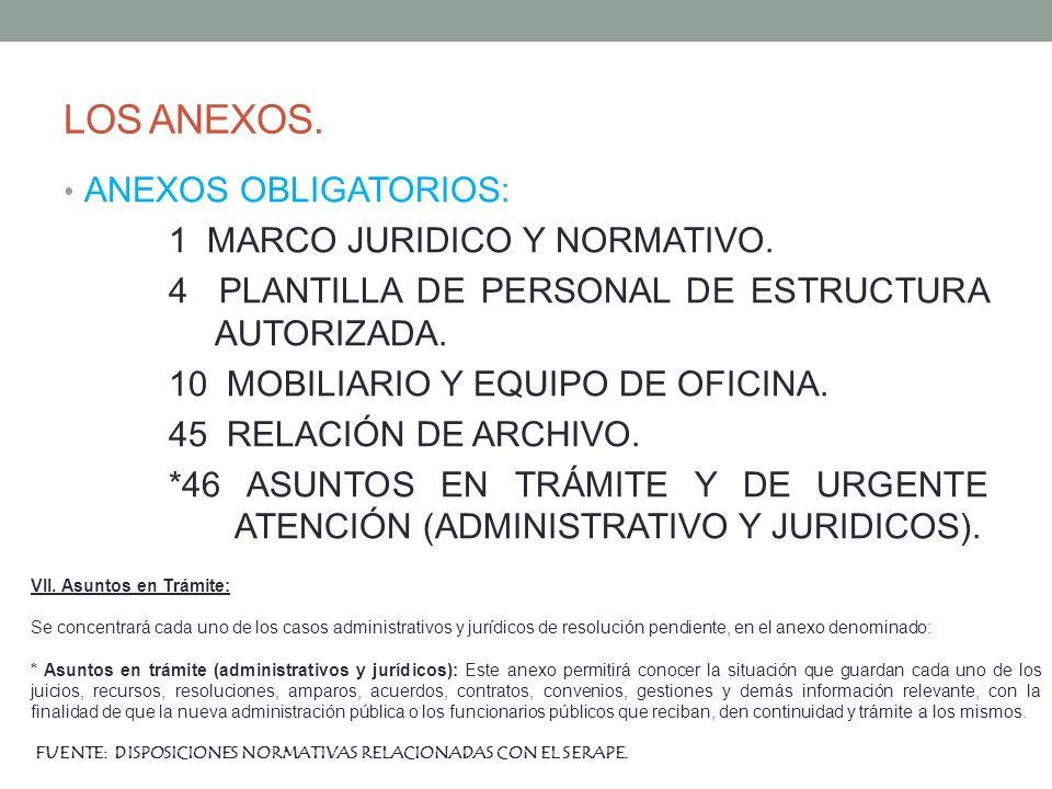 LOS ANEXOS. ANEXOS OBLIGATORIOS: 1 MARCO JURIDICO Y NORMATIVO. 4 PLANTILLA DE PERSONAL DE ESTRUCTURA AUTORIZADA. 10 MOBILIARIO Y EQUIPO DE OFICINA. 45