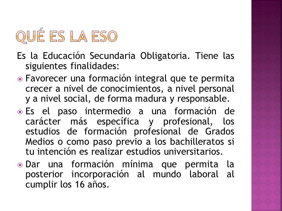 Es la Educación Secundaria Obligatoria. Tiene las siguientes finalidades: Favorecer una formación integral que te permita crecer a nivel de conocimien