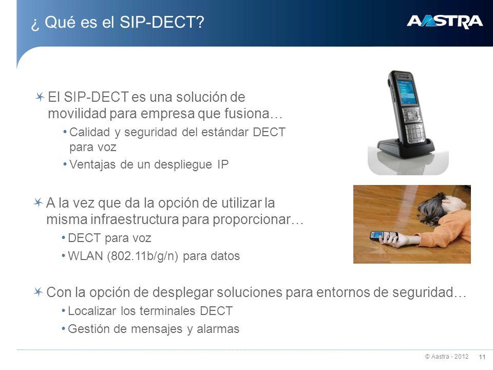 © Aastra - 2012 11 ¿ Qué es el SIP-DECT? 11 El SIP-DECT es una solución de movilidad para empresa que fusiona… Calidad y seguridad del estándar DECT p