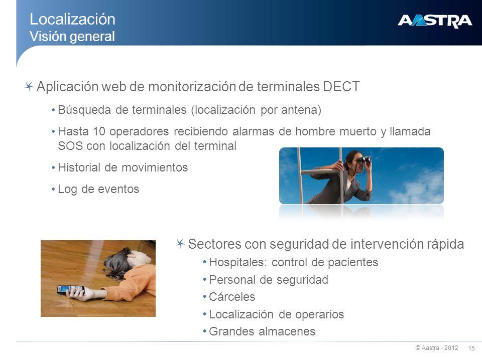 © Aastra - 2012 15 Aplicación web de monitorización de terminales DECT Búsqueda de terminales (localización por antena) Hasta 10 operadores recibiendo