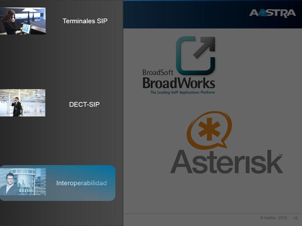 © Aastra - 2012 18 Terminales SIP Interoperabilidad DECT-SIP