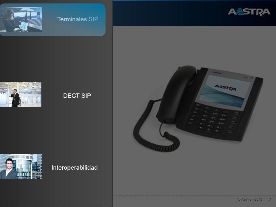 © Aastra - 2012 3 Presupuesto Funcionalidad 6739i Gigabit Ethernet HD Audio 10/100 Ethernet HiQ – Wideband Audio 6737i 6735i 6730i 6731i 6753i 6755i 6757i Terminales Aastra - Información general