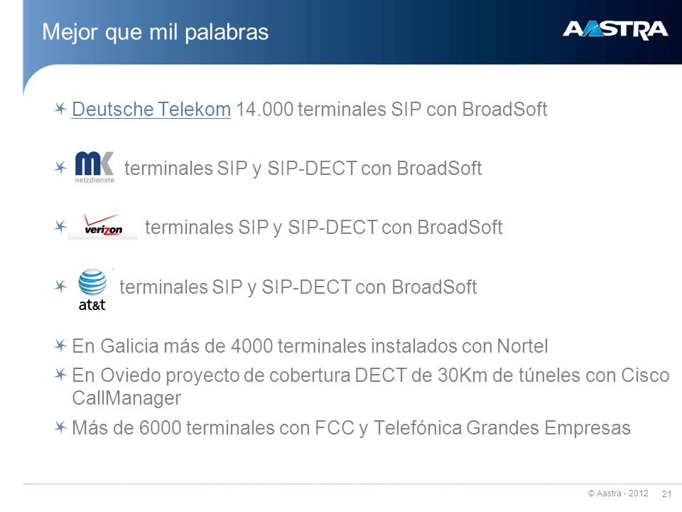 © Aastra - 2012 21 Mejor que mil palabras Deutsche TelekomDeutsche Telekom 14.000 terminales SIP con BroadSoft terminales SIP y SIP-DECT con BroadSoft