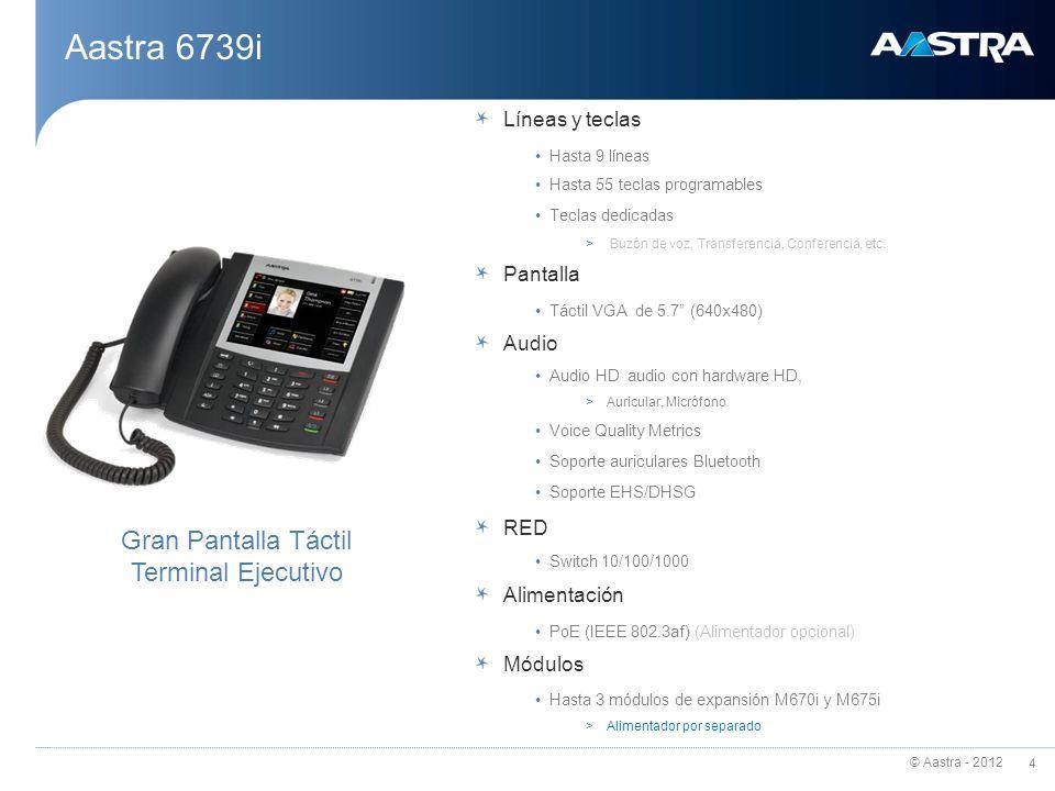 © Aastra - 2012 5 Interfaz de Usuario Pantalla 5.7 Full VGA (640x480) táctil Interfaz grafica intuitiva y con menús navegables Iconos colorados Contraste y luminosidad de la pantalla arreglable, útil para diferentes condiciones de luz Soporte multi idioma Pack de idiomas descargables Información del llamante y de la línea de llamada Diferentes timbres y alertas Lista de llamada, llamadas perdidas Teclado en pantalla de tipo QWERTY Aastra 6739i – Características más destacadas