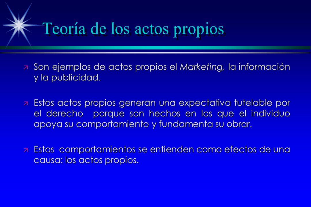Teoría de los actos propios ä Son ejemplos de actos propios el Marketing, la información y la publicidad. ä Estos actos propios generan una expectativ