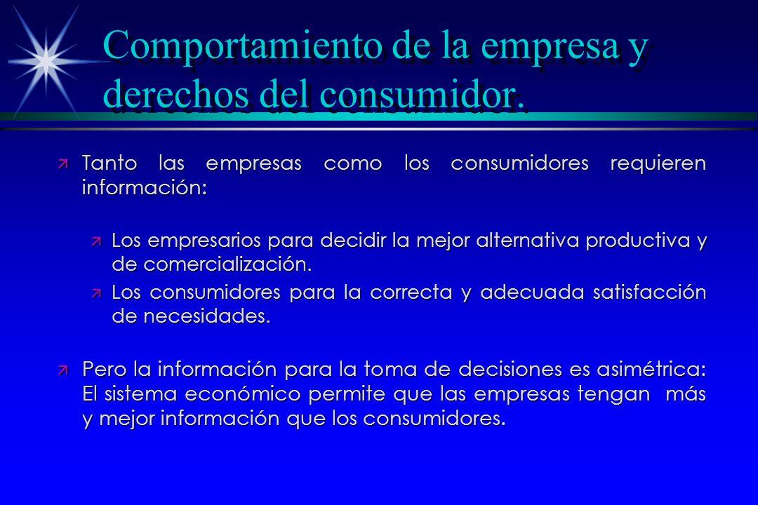 Comportamiento de la empresa y derechos del consumidor. ä Tanto las empresas como los consumidores requieren información: ä Los empresarios para decid