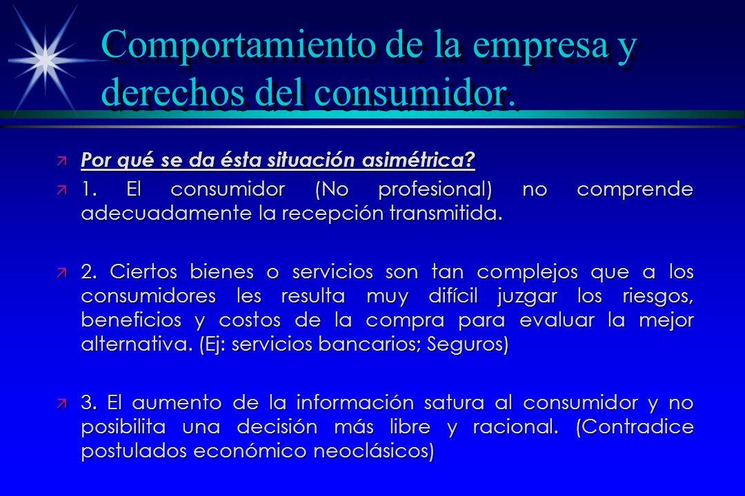 Comportamiento de la empresa y derechos del consumidor. ä Por qué se da ésta situación asimétrica? ä 1. El consumidor (No profesional) no comprende ad