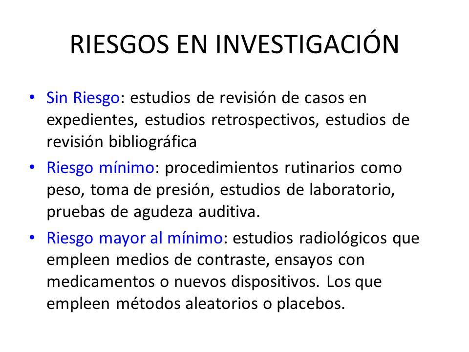 RIESGOS EN INVESTIGACIÓN Sin Riesgo: estudios de revisión de casos en expedientes, estudios retrospectivos, estudios de revisión bibliográfica Riesgo