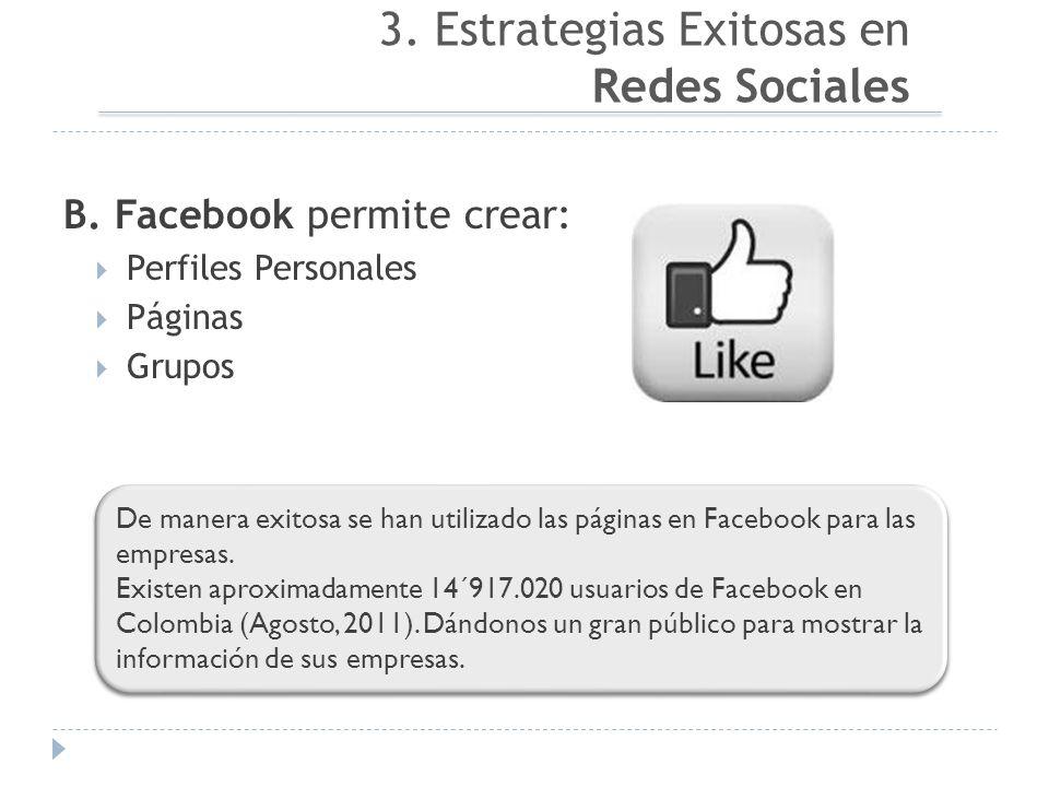 B. Facebook permite crear: Perfiles Personales Páginas Grupos De manera exitosa se han utilizado las páginas en Facebook para las empresas. Existen ap