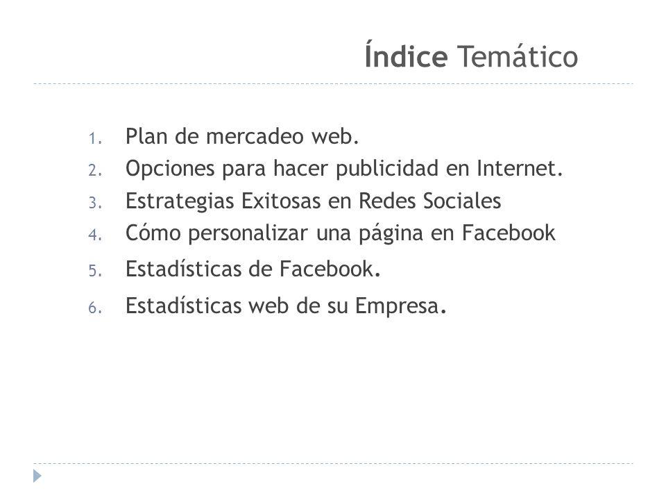 1.Plan de mercadeo web. 2. Opciones para hacer publicidad en Internet.