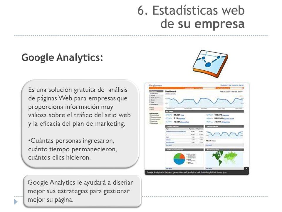 6. Estadísticas web de su empresa Google Analytics: Es una solución gratuita de análisis de páginas Web para empresas que proporciona información muy