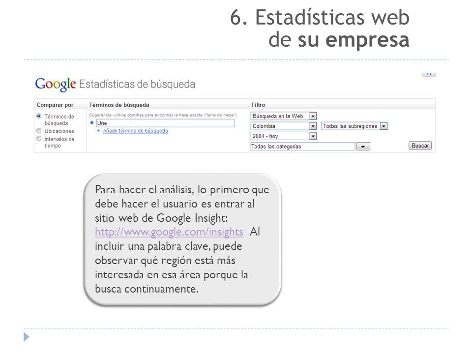 Para hacer el análisis, lo primero que debe hacer el usuario es entrar al sitio web de Google Insight: http://www.google.com/insights Al incluir una palabra clave, puede observar qué región está más interesada en esa área porque la busca continuamente.