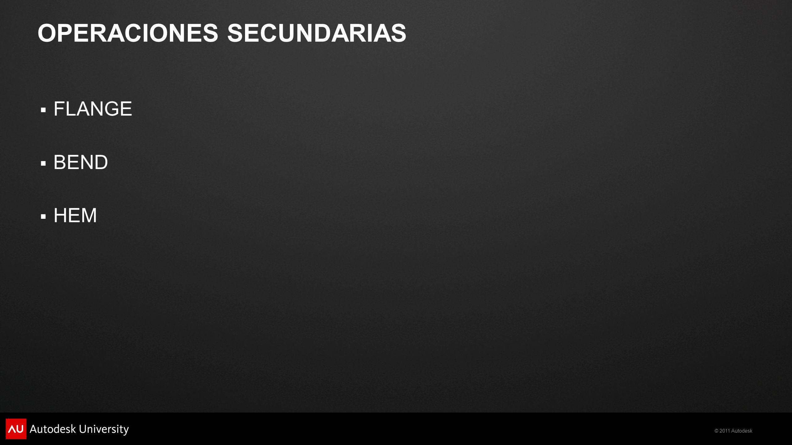 © 2011 Autodesk OPERACIONES SECUNDARIAS FLANGE BEND HEM