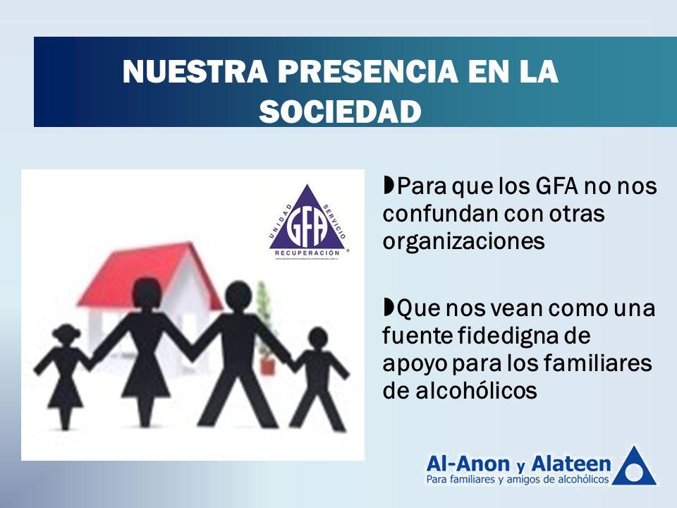 Para que los GFA no nos confundan con otras organizaciones Que nos vean como una fuente fidedigna de apoyo para los familiares de alcohólicos NUESTRA PRESENCIA EN LA SOCIEDAD