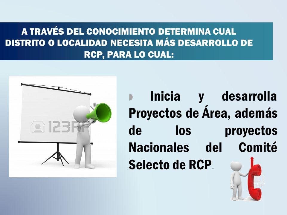 A TRAVÉS DEL CONOCIMIENTO DETERMINA CUAL DISTRITO O LOCALIDAD NECESITA MÁS DESARROLLO DE RCP, PARA LO CUAL: Inicia y desarrolla Proyectos de Área, además de los proyectos Nacionales del Comité Selecto de RCP.