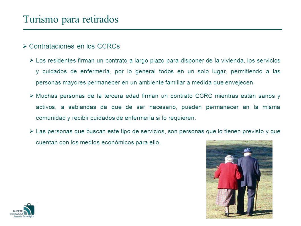 Turismo para retirados Contrataciones en los CCRCs Los residentes firman un contrato a largo plazo para disponer de la vivienda, los servicios y cuidados de enfermería, por lo general todos en un solo lugar, permitiendo a las personas mayores permanecer en un ambiente familiar a medida que envejecen.