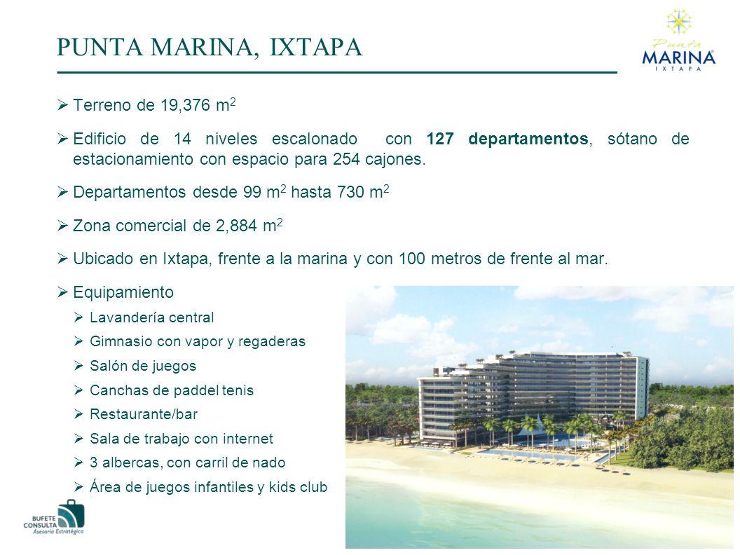 PUNTA MARINA, IXTAPA Terreno de 19,376 m 2 Edificio de 14 niveles escalonado con 127 departamentos, sótano de estacionamiento con espacio para 254 cajones.