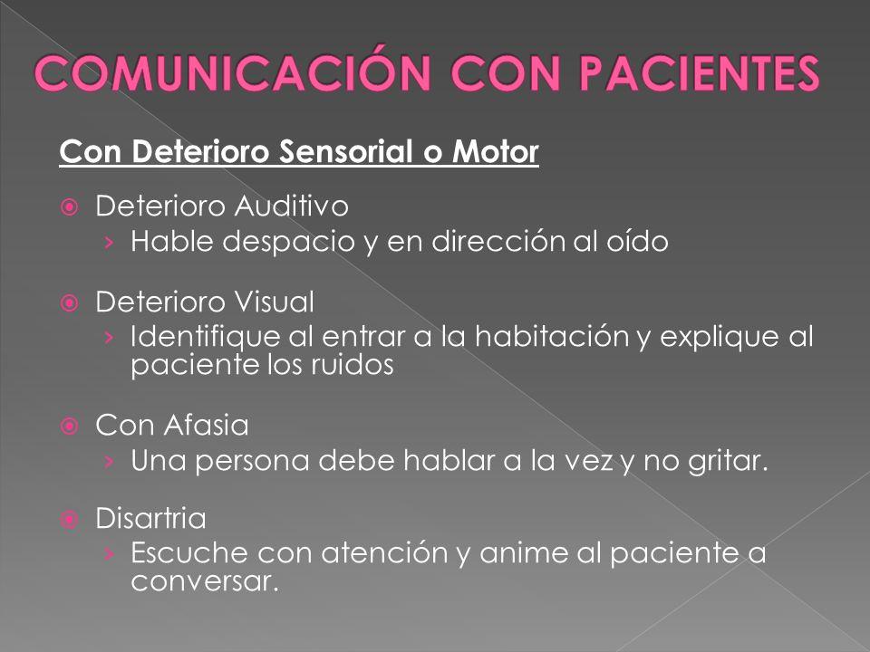 Con Deterioro Sensorial o Motor Deterioro Auditivo Hable despacio y en dirección al oído Deterioro Visual Identifique al entrar a la habitación y expl