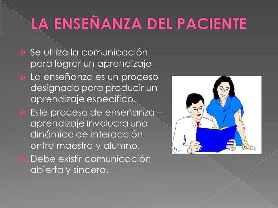 Se utiliza la comunicación para lograr un aprendizaje La enseñanza es un proceso designado para producir un aprendizaje específico. Este proceso de en