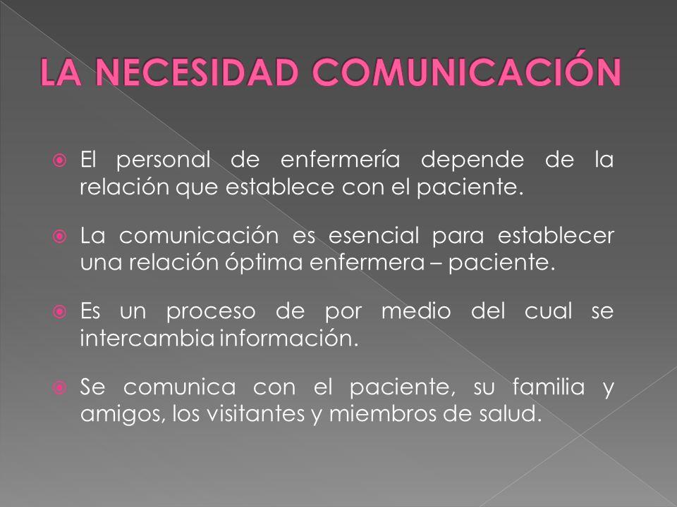 El personal de enfermería depende de la relación que establece con el paciente. La comunicación es esencial para establecer una relación óptima enferm