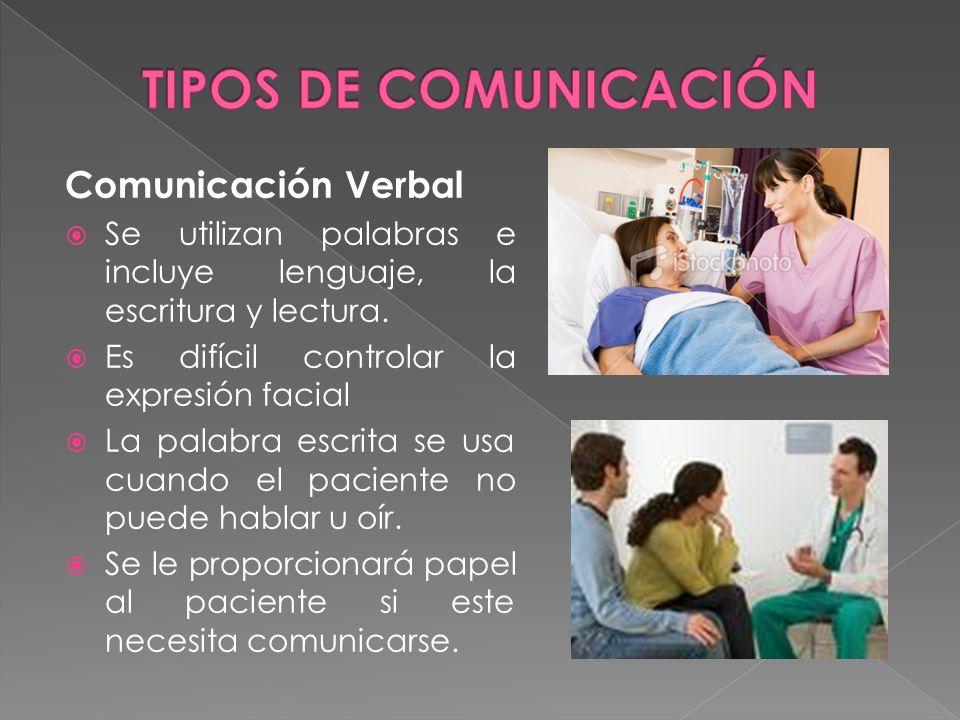 Comunicación Verbal Se utilizan palabras e incluye lenguaje, la escritura y lectura. Es difícil controlar la expresión facial La palabra escrita se us