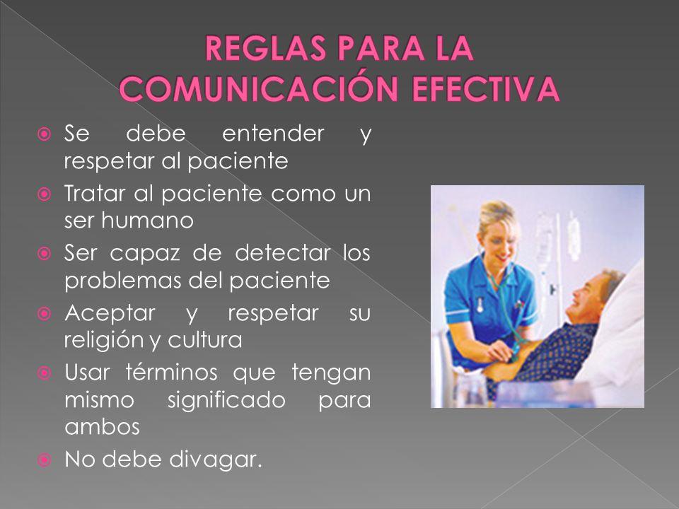 Se debe entender y respetar al paciente Tratar al paciente como un ser humano Ser capaz de detectar los problemas del paciente Aceptar y respetar su r