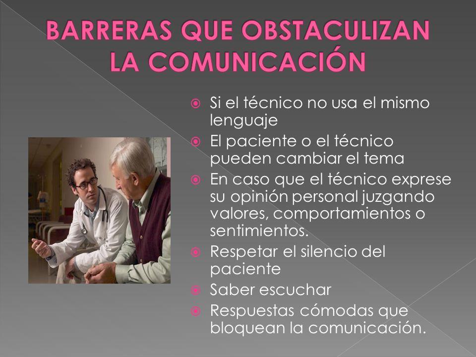 Si el técnico no usa el mismo lenguaje El paciente o el técnico pueden cambiar el tema En caso que el técnico exprese su opinión personal juzgando val