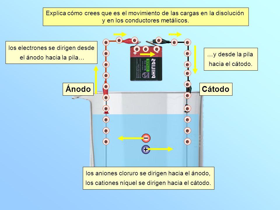 ÁnodoCátodo e + - e e e e e e e e e ee eee e ee e e e e e e e e e Explica cómo crees que es el movimiento de las cargas en la disolución y en los conductores metálicos.