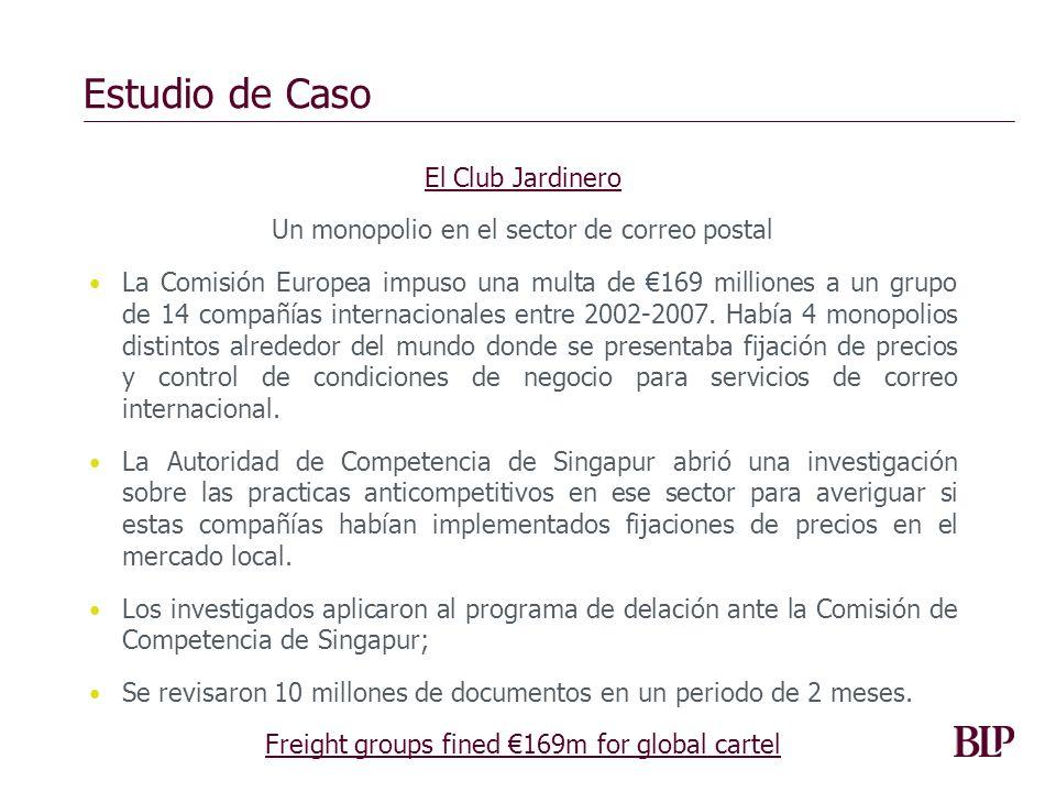 Estudio de Caso El Club Jardinero Un monopolio en el sector de correo postal La Comisión Europea impuso una multa de 169 milliones a un grupo de 14 co