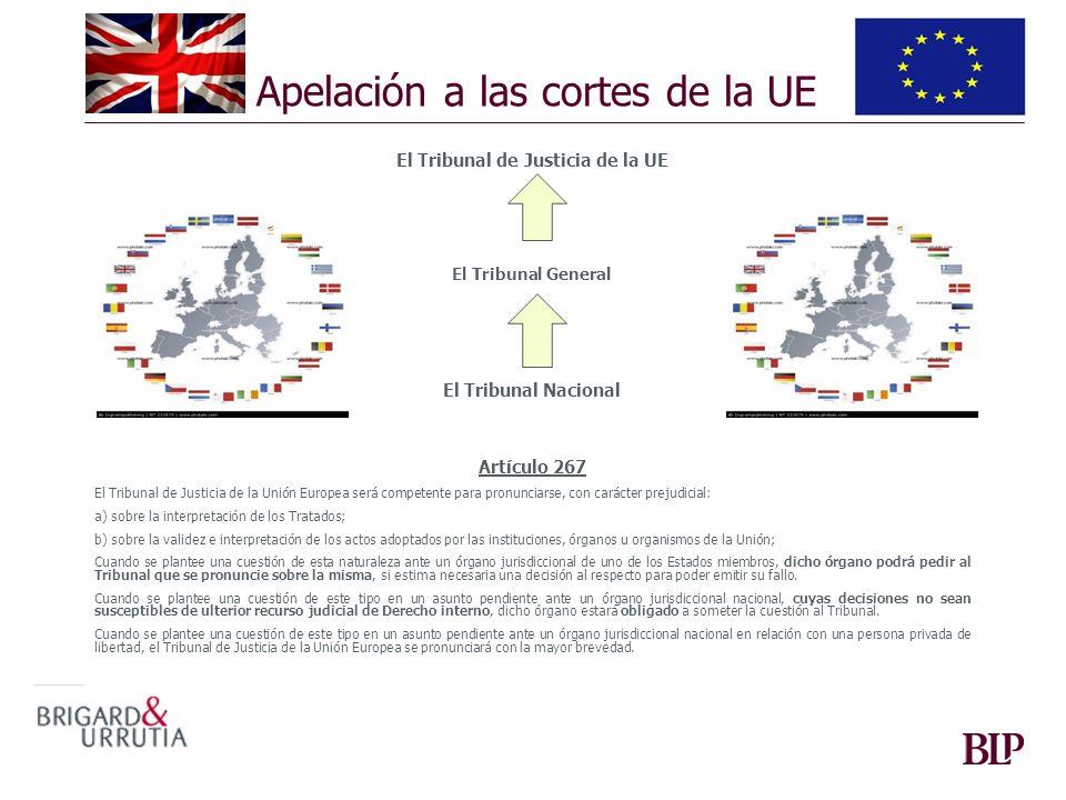 Apelación a las cortes de la UE El Tribunal de Justicia de la UE El Tribunal General El Tribunal Nacional Artículo 267 El Tribunal de Justicia de la U