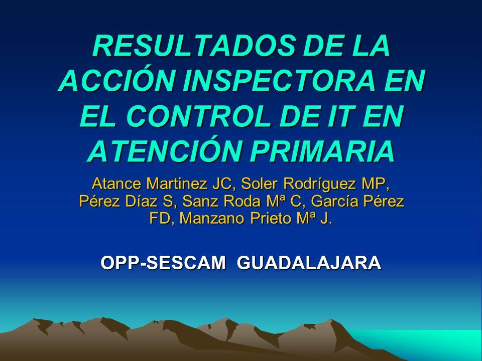 RESULTADOS DE LA ACCIÓN INSPECTORA EN EL CONTROL DE IT EN ATENCIÓN PRIMARIA Atance Martinez JC, Soler Rodríguez MP, Pérez Díaz S, Sanz Roda Mª C, Garc